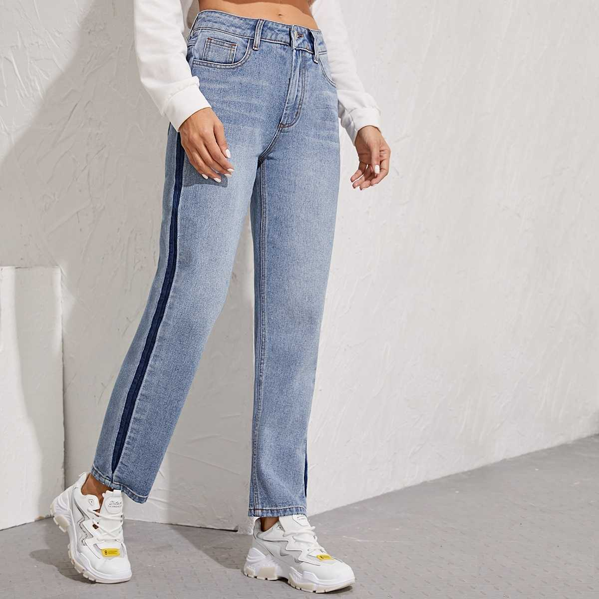 Contrast Sideseam Straight Leg Jeans in Blue Pastel by ROMWE on GOOFASH