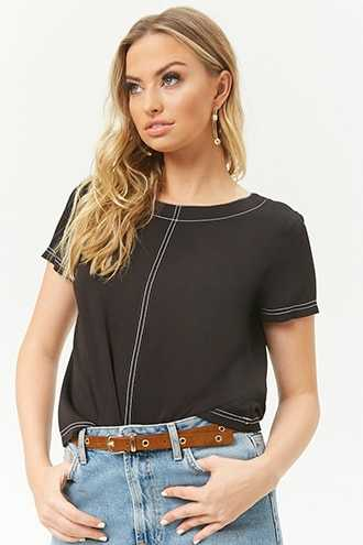 Contrast Stitch Top at Forever 21  Black/white - GOOFASH