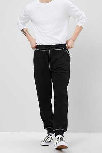 Contrast-Stitched French Terry Joggers at Forever 21  Black - GOOFASH