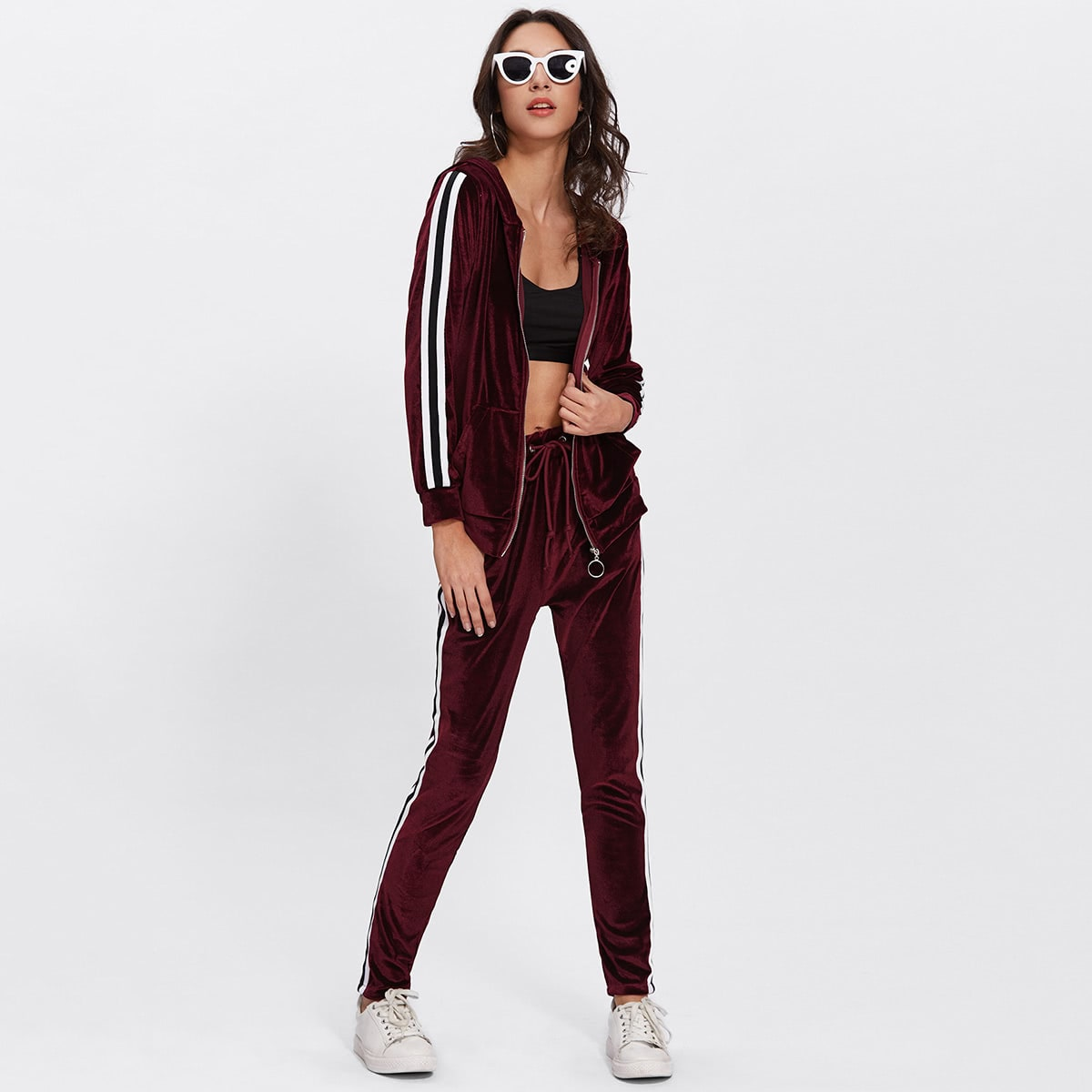 Contrast Stripe Side Velvet Hoodie And Pants in Burgundy by ROMWE on GOOFASH