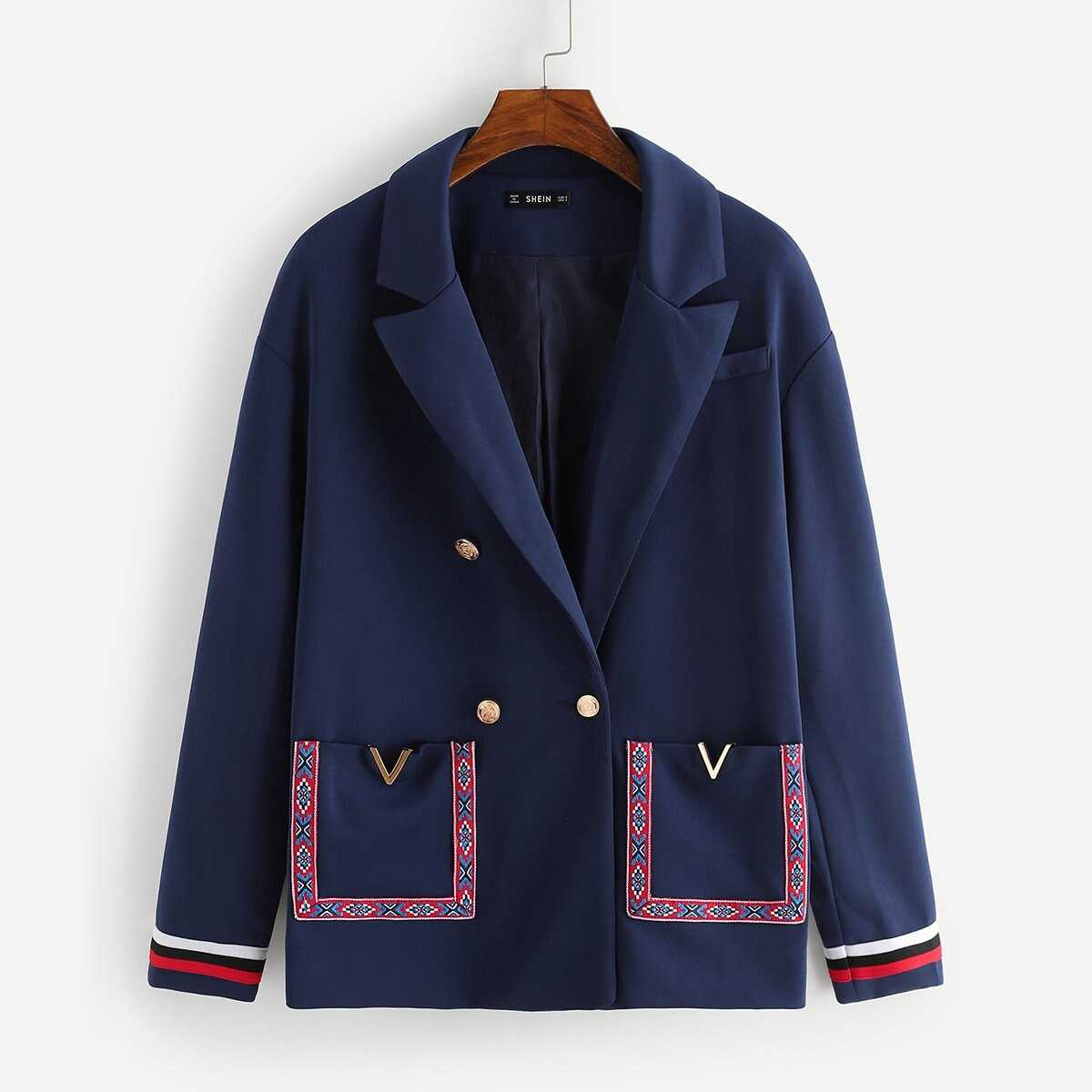 Contrast Tape Double Breasted Placket Coat - Shein - GOOFASH