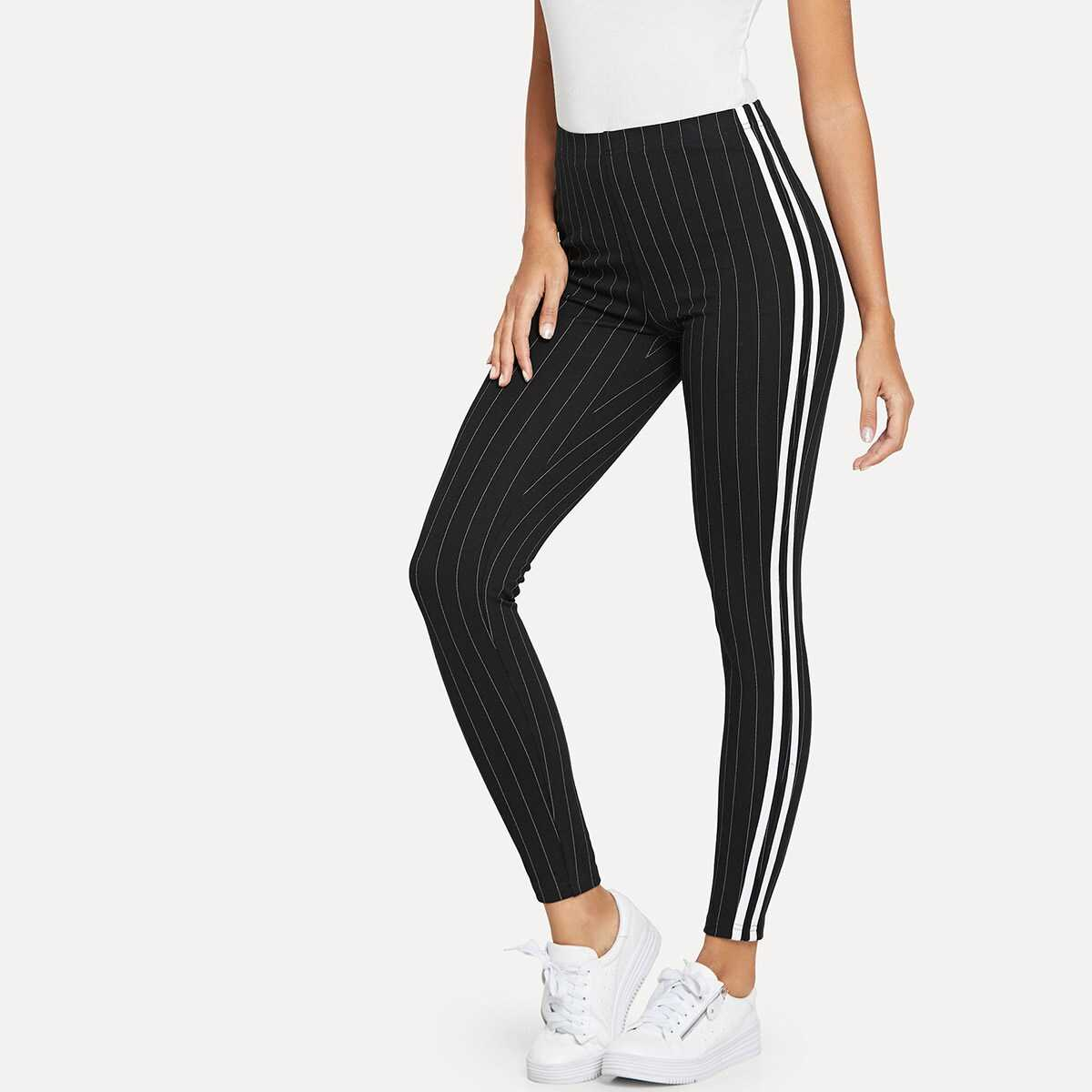 Contrast Tape Side Striped Leggings - Shein - GOOFASH