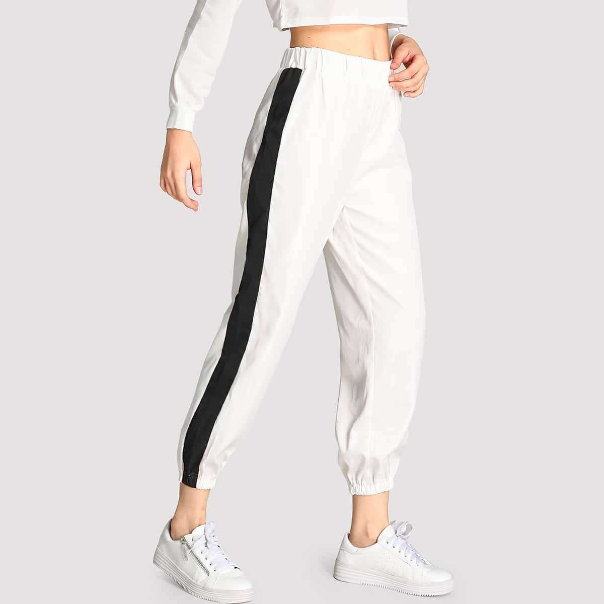 Contrast Trim Pants in White by ROMWE on GOOFASH