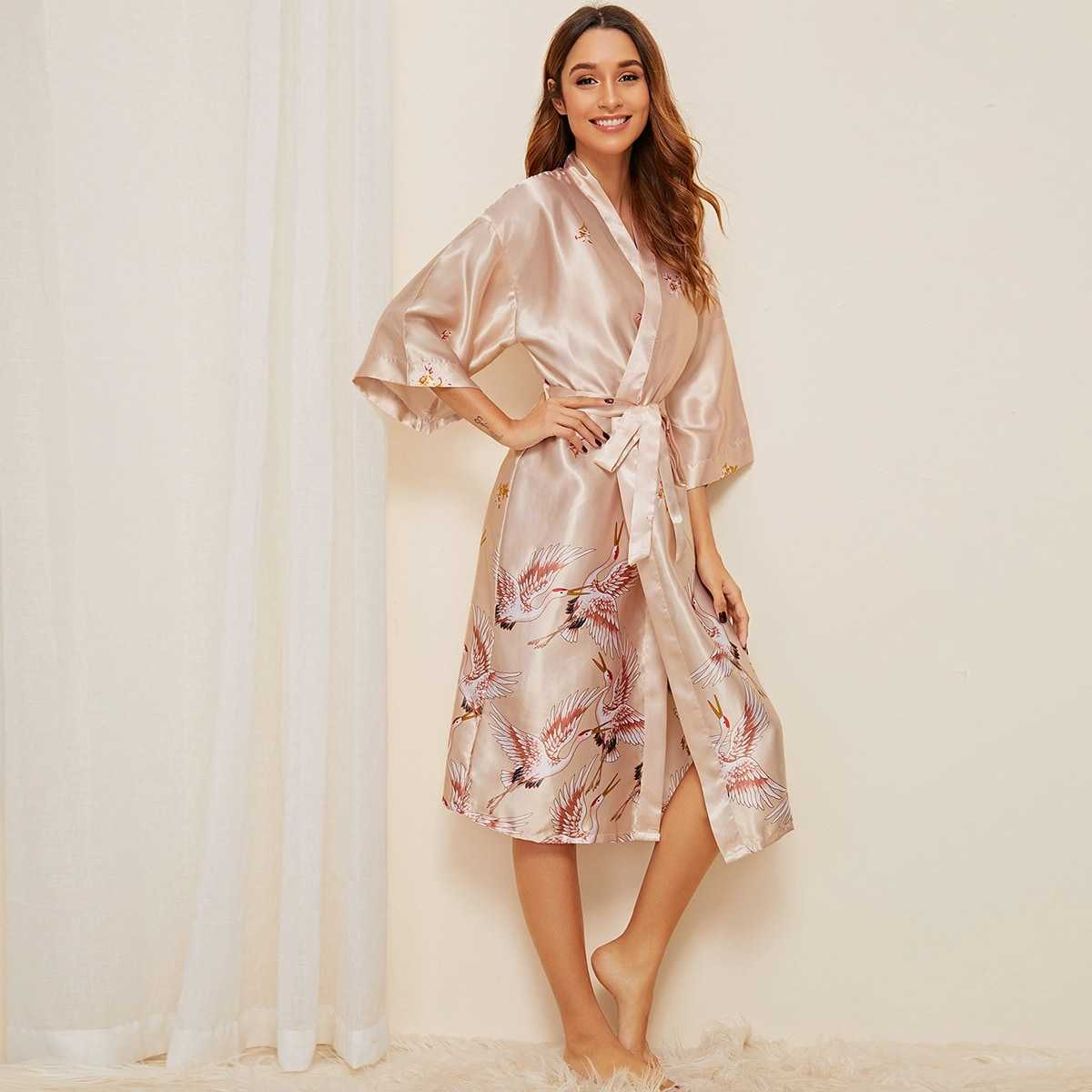 Crane Print Satin Belted Robe in Beige by ROMWE on GOOFASH