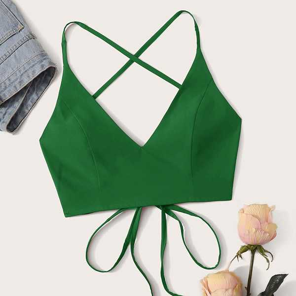 Criss Cross Lace Up Cami Top in Green by ROMWE on GOOFASH