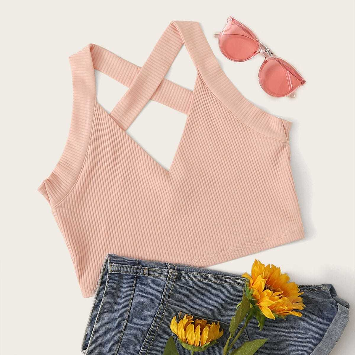 Criss Cross Rib-knit Cami Top in Pink by ROMWE on GOOFASH