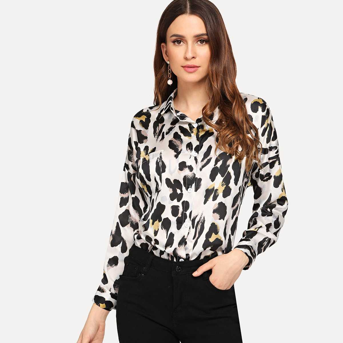 Curved Hem Leopard Blouse in Multicolor by ROMWE on GOOFASH