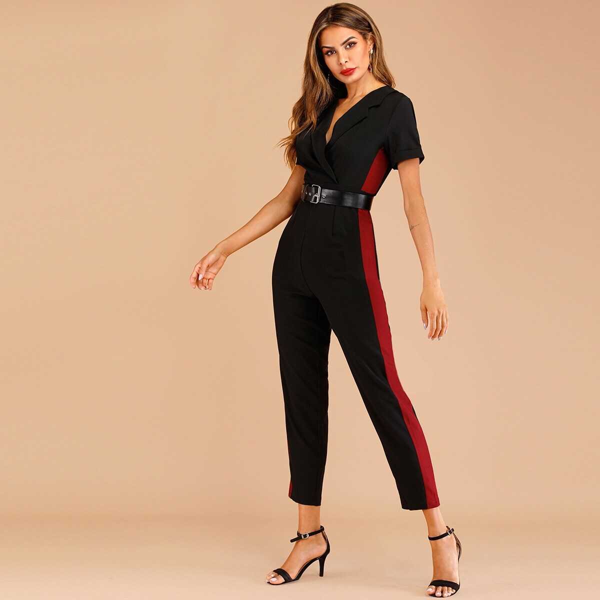 Cut And Sew Belted Jumpsuit - Shein - GOOFASH