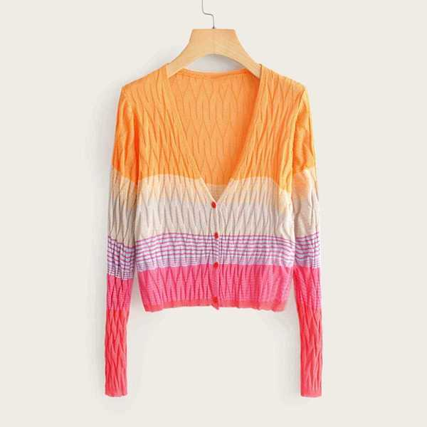 Cut And Sew Striped Skinny Cardigan in Multicolor by ROMWE on GOOFASH
