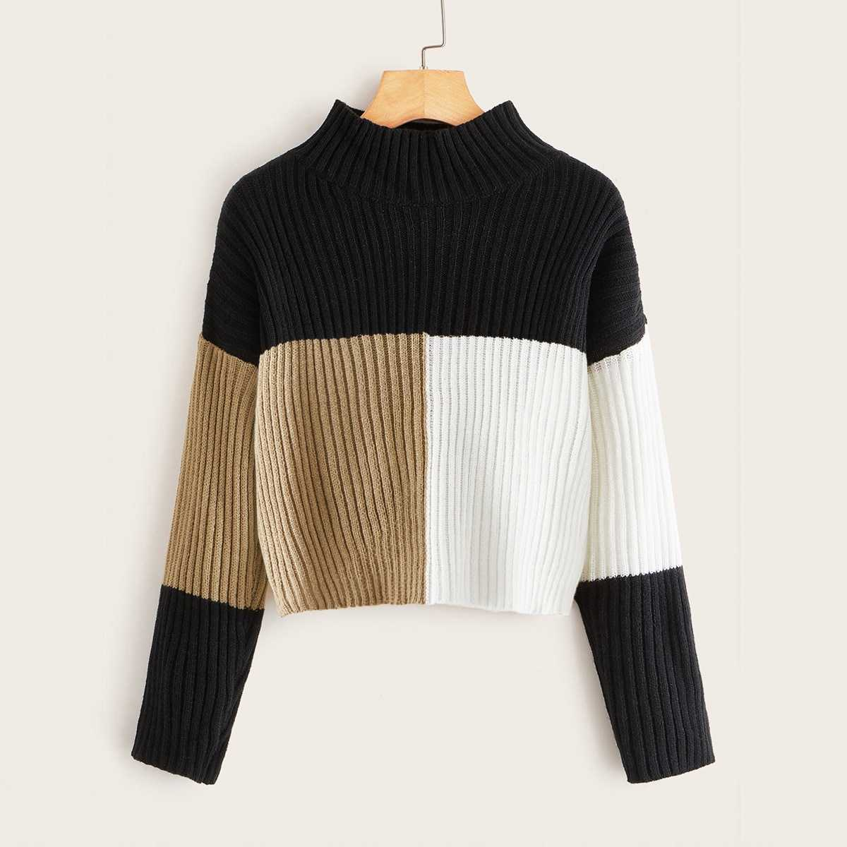 Cut and Sew Rib-knit Sweater in Multicolor by ROMWE on GOOFASH