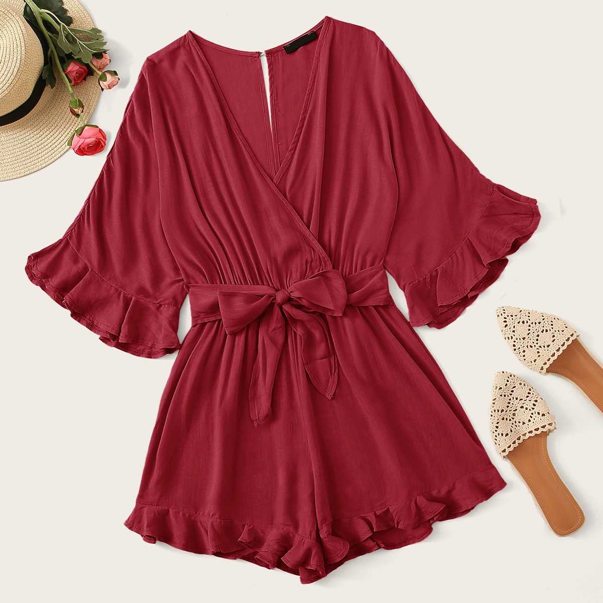 Cut-out Back Ruffle Trim Surplice Neck Belted Romper in Burgundy by ROMWE on GOOFASH