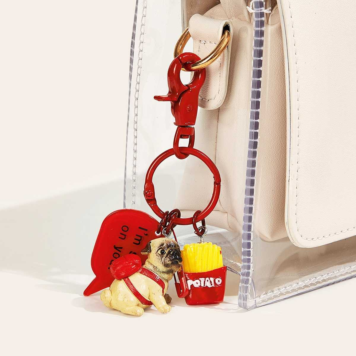 Cute Dog & French Fries Decor Bag Accessory in Red by ROMWE on GOOFASH