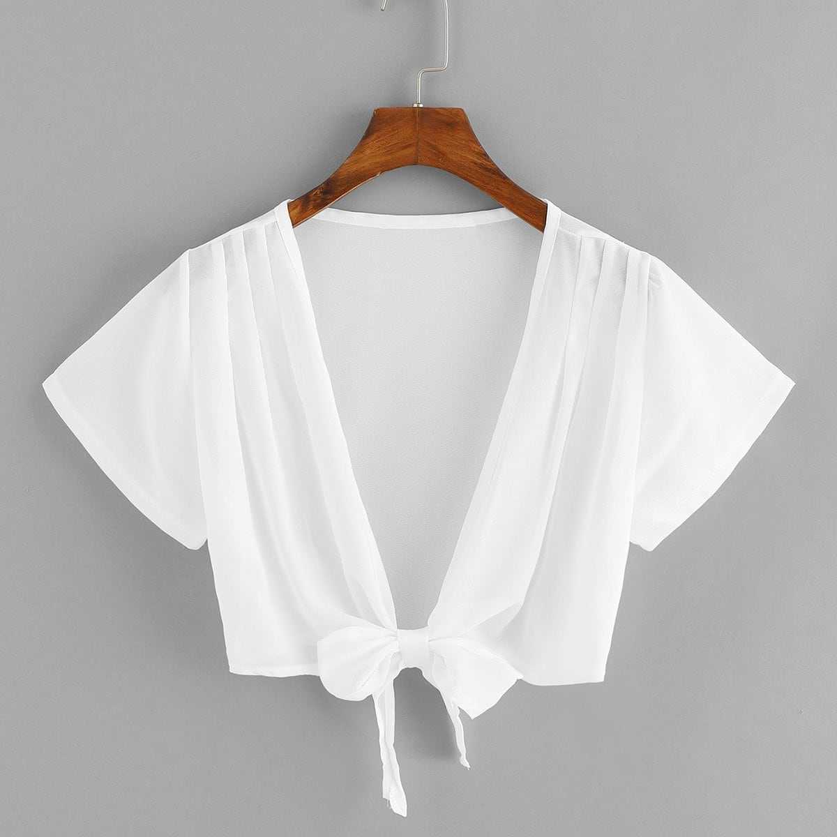 Deep V Neck Knot Blouse in White by ROMWE on GOOFASH