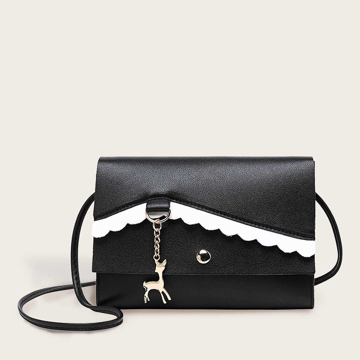 Deer Charm Decor Scalloped Detail Bag in Black and White by ROMWE on GOOFASH