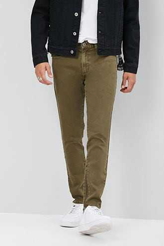 Distressed Slim-Fit Jeans at Forever 21  Olive - GOOFASH