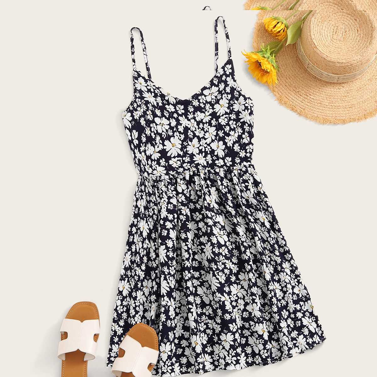 Ditsy Floral Cami Sundress in Multicolor by ROMWE on GOOFASH