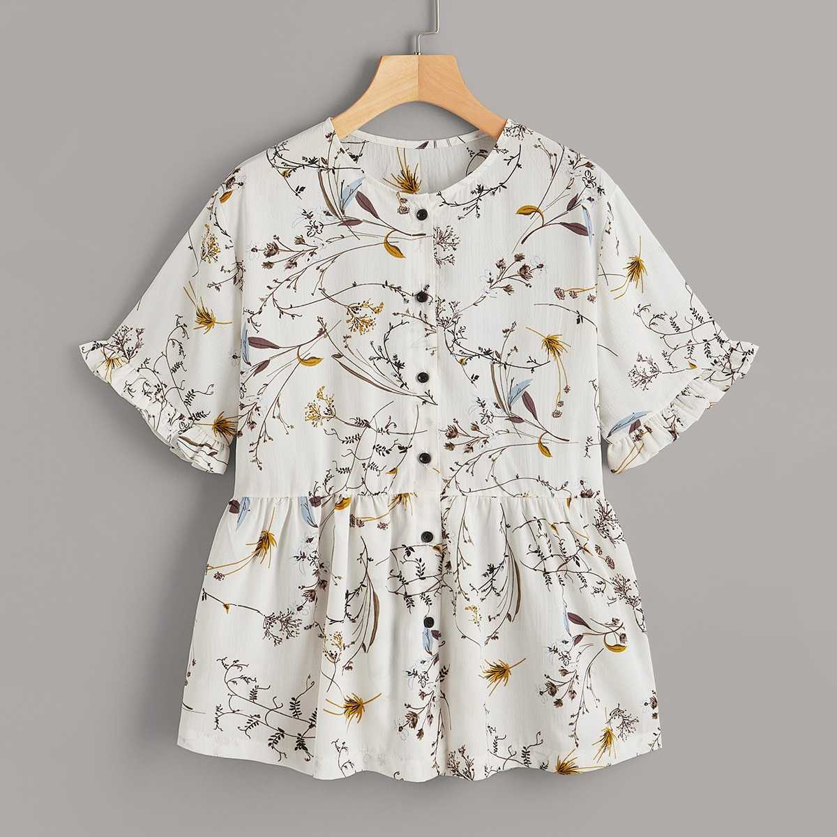Ditsy floral Button Front Blouse in Multicolor by ROMWE on GOOFASH
