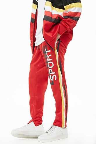 Dope Ankle-Zip Track Pants at Forever 21  Red - GOOFASH