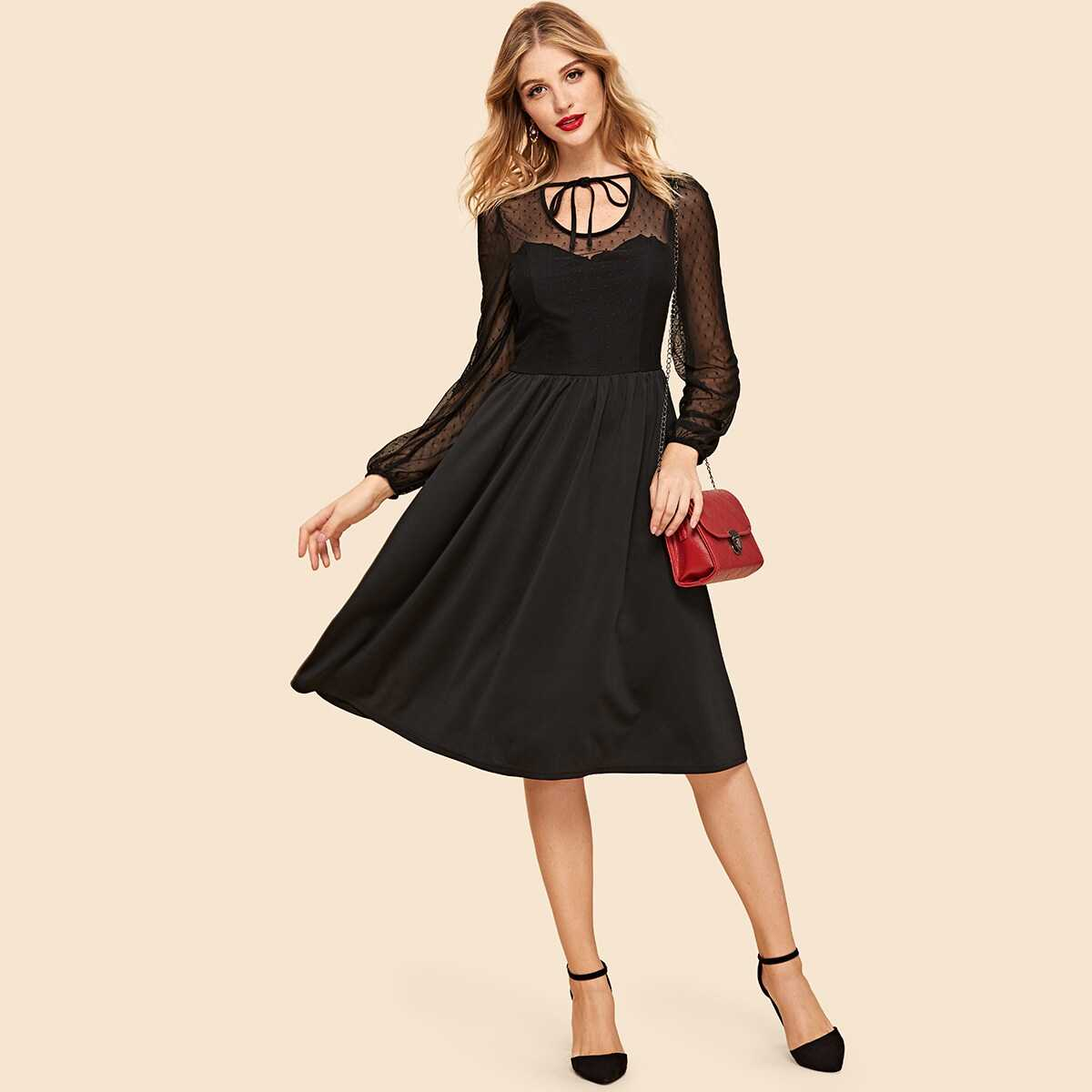 Dot Mesh Insert Fit and Flare Dress - Shein - GOOFASH