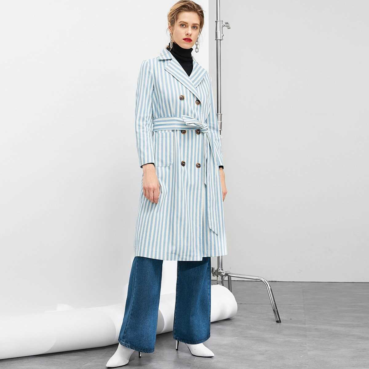 Double Breasted Belted Striped Trench Coat - Shein - GOOFASH