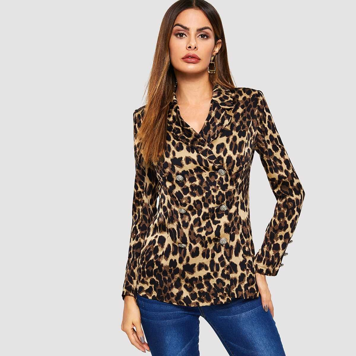 Double Breasted Leopard Fitted Blazer - Shein - GOOFASH