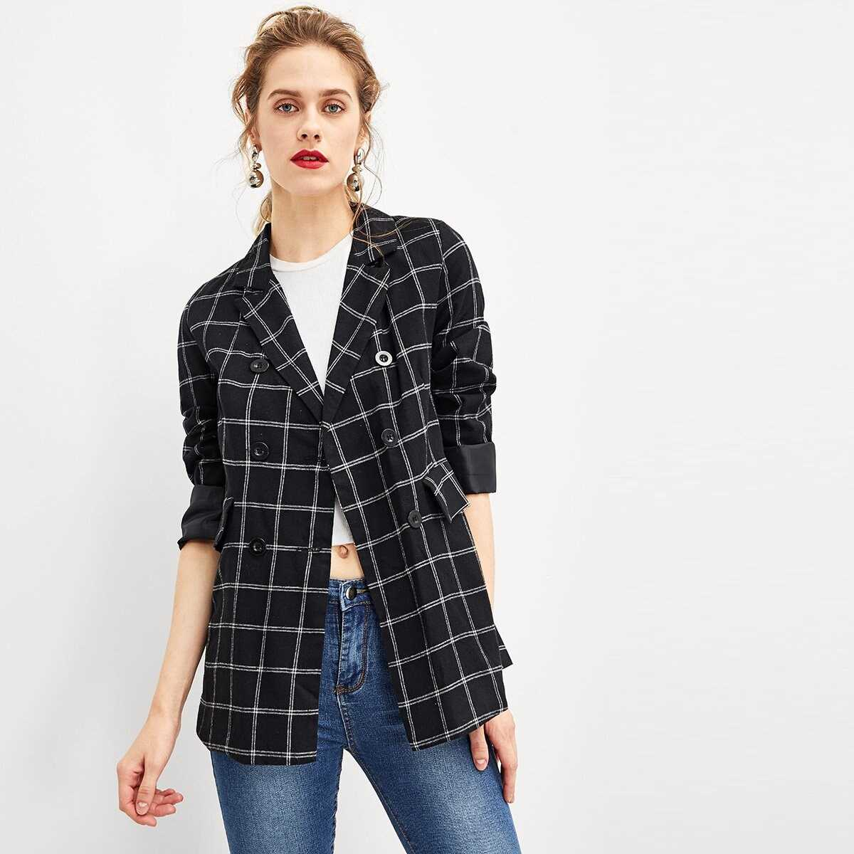 Double-Breasted Plaid Blazer in Black by ROMWE on GOOFASH