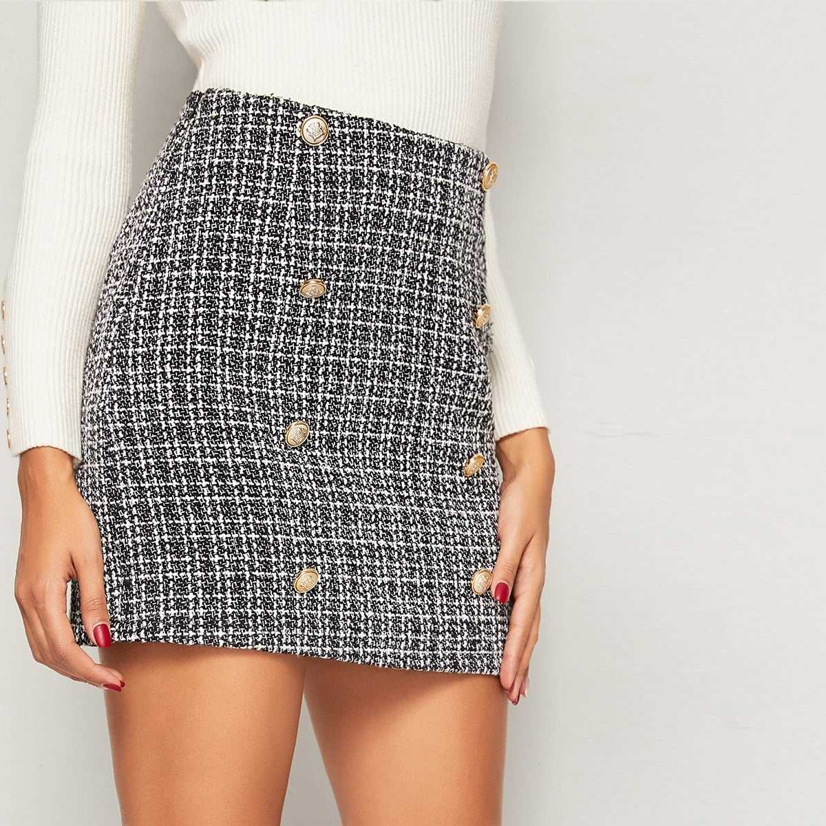 Double Breasted Tweed Skirt in Black and White by ROMWE on GOOFASH
