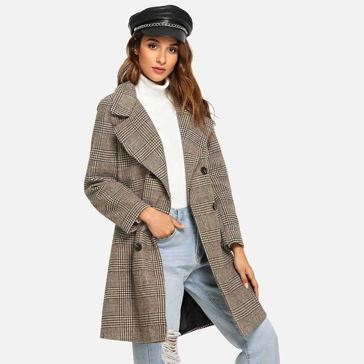 Double Breasted Wales Check Coat - Shein - GOOFASH