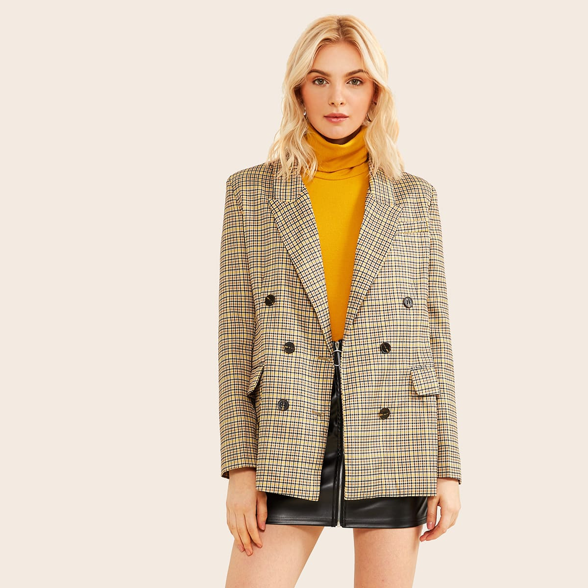 Double Button Flap Pocket Plaid Blazer in Multicolor by ROMWE on GOOFASH
