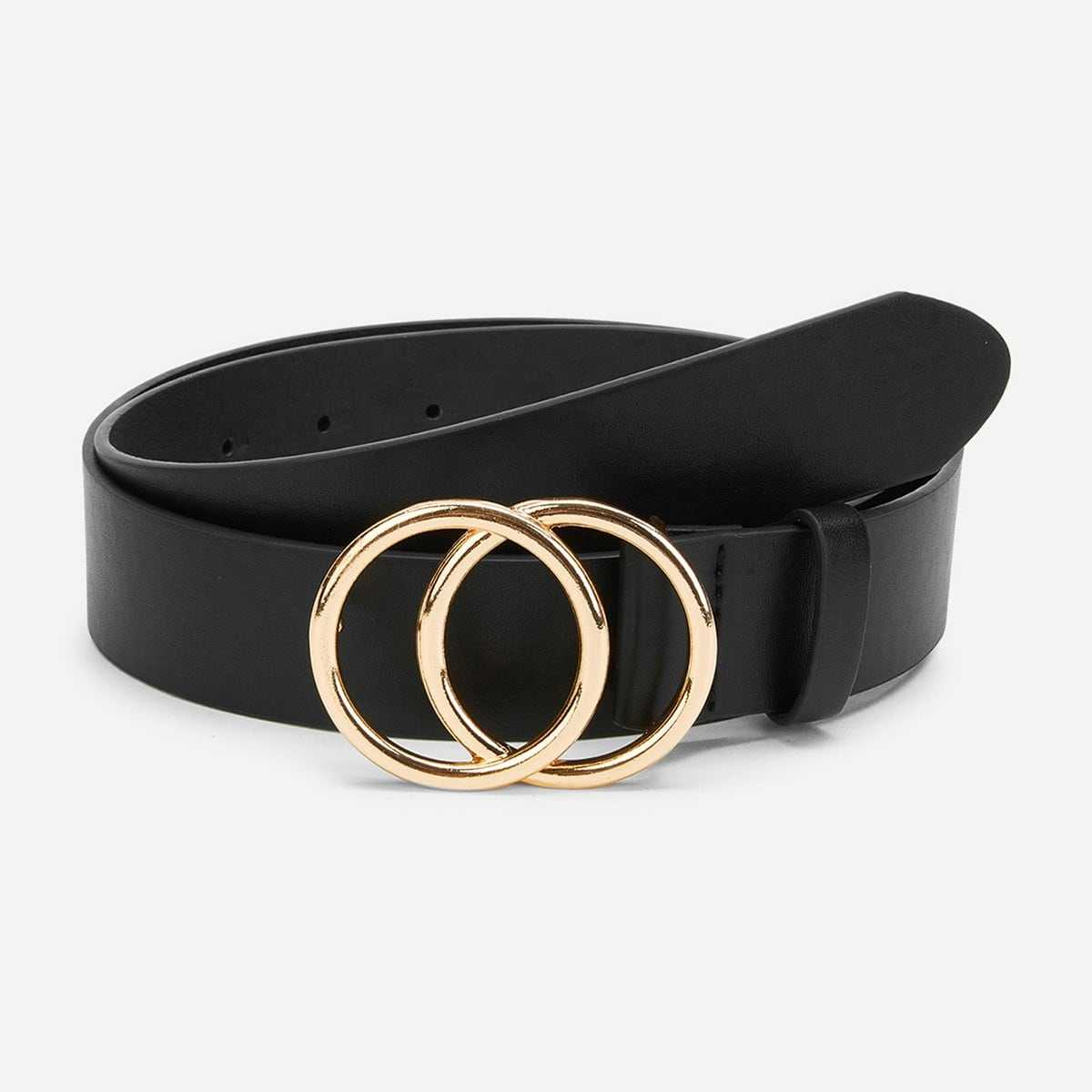 Double Circle Buckle Belt in Black by ROMWE on GOOFASH