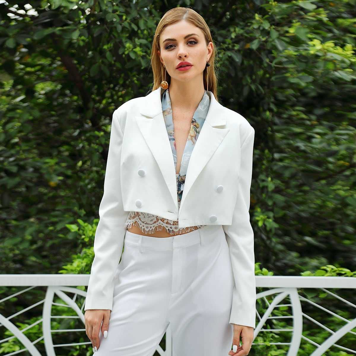 Double Crazy Solid Double Breasted Blazer in White by ROMWE on GOOFASH