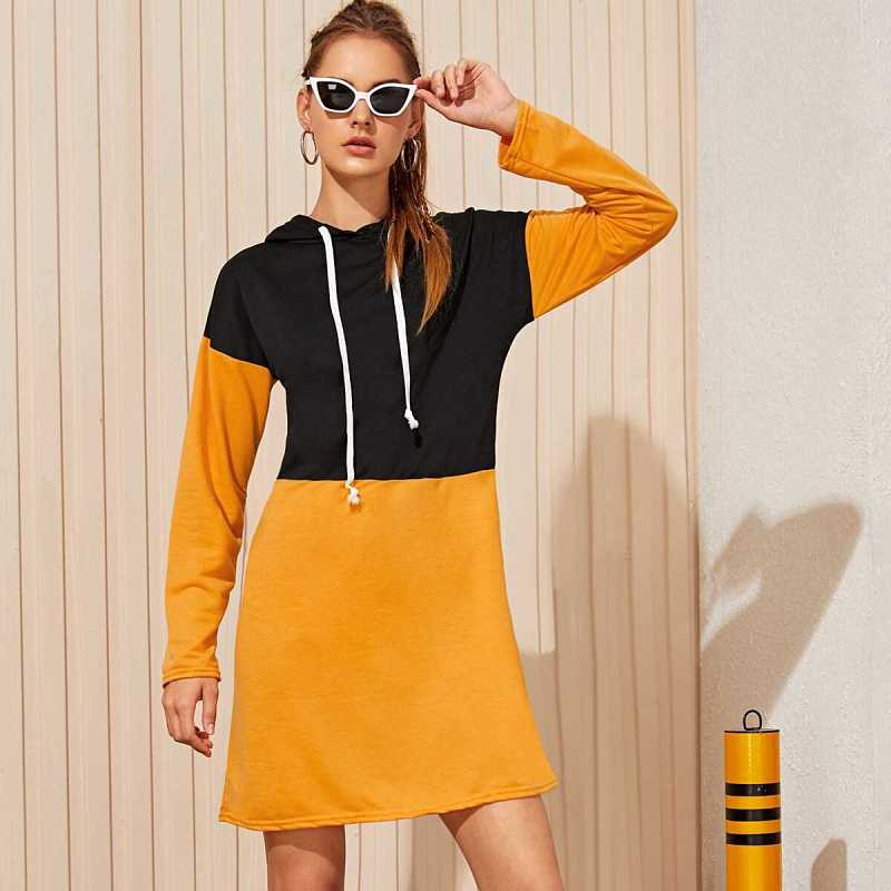 Drawstring Two Tone Hoodie Dress in Multicolor by ROMWE on GOOFASH
