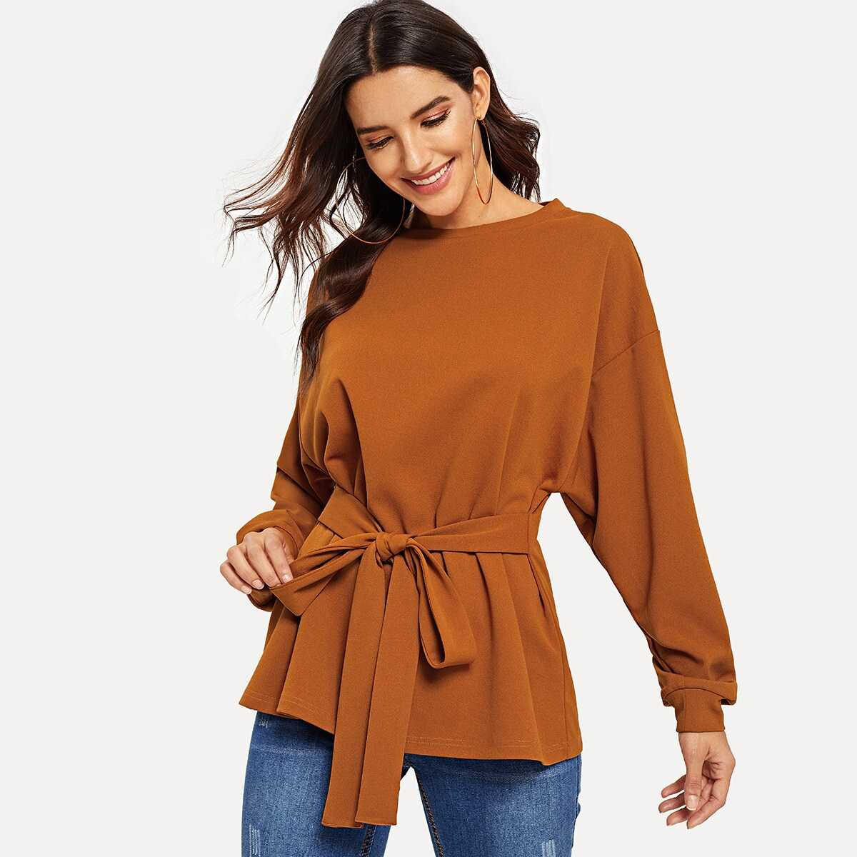 Drop Shoulder Batwing Sleeve Knotted Top - Shein - GOOFASH