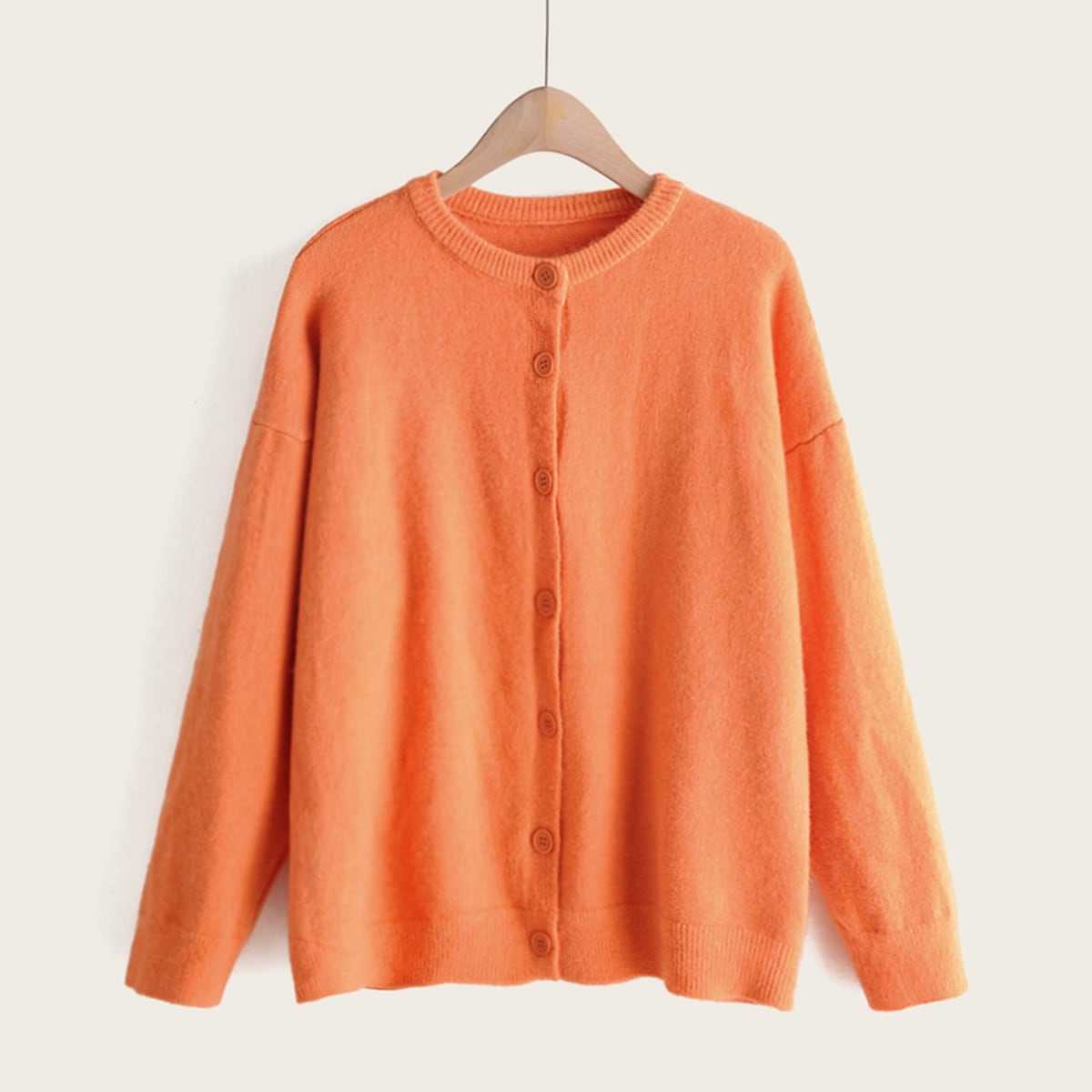 Drop Shoulder Button Through Cardigan in Orange by ROMWE on GOOFASH