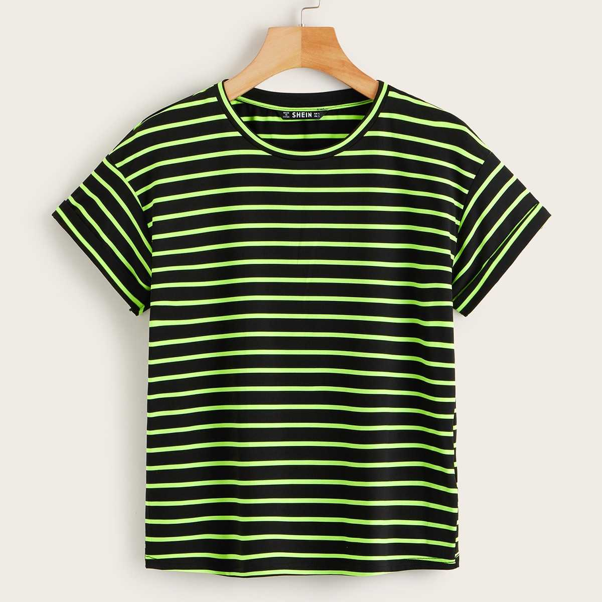 Drop Shoulder Neon Striped Tee in Multicolor Bright by ROMWE on GOOFASH