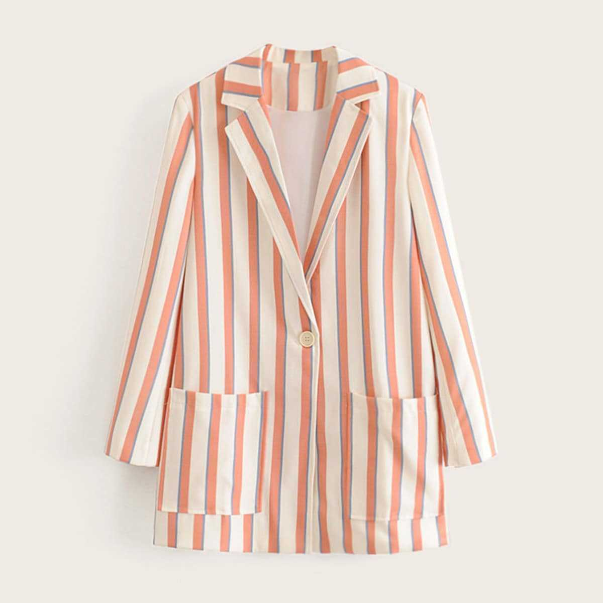 Dual Pocket Front Single Button Striped Blazer in Multicolor by ROMWE on GOOFASH