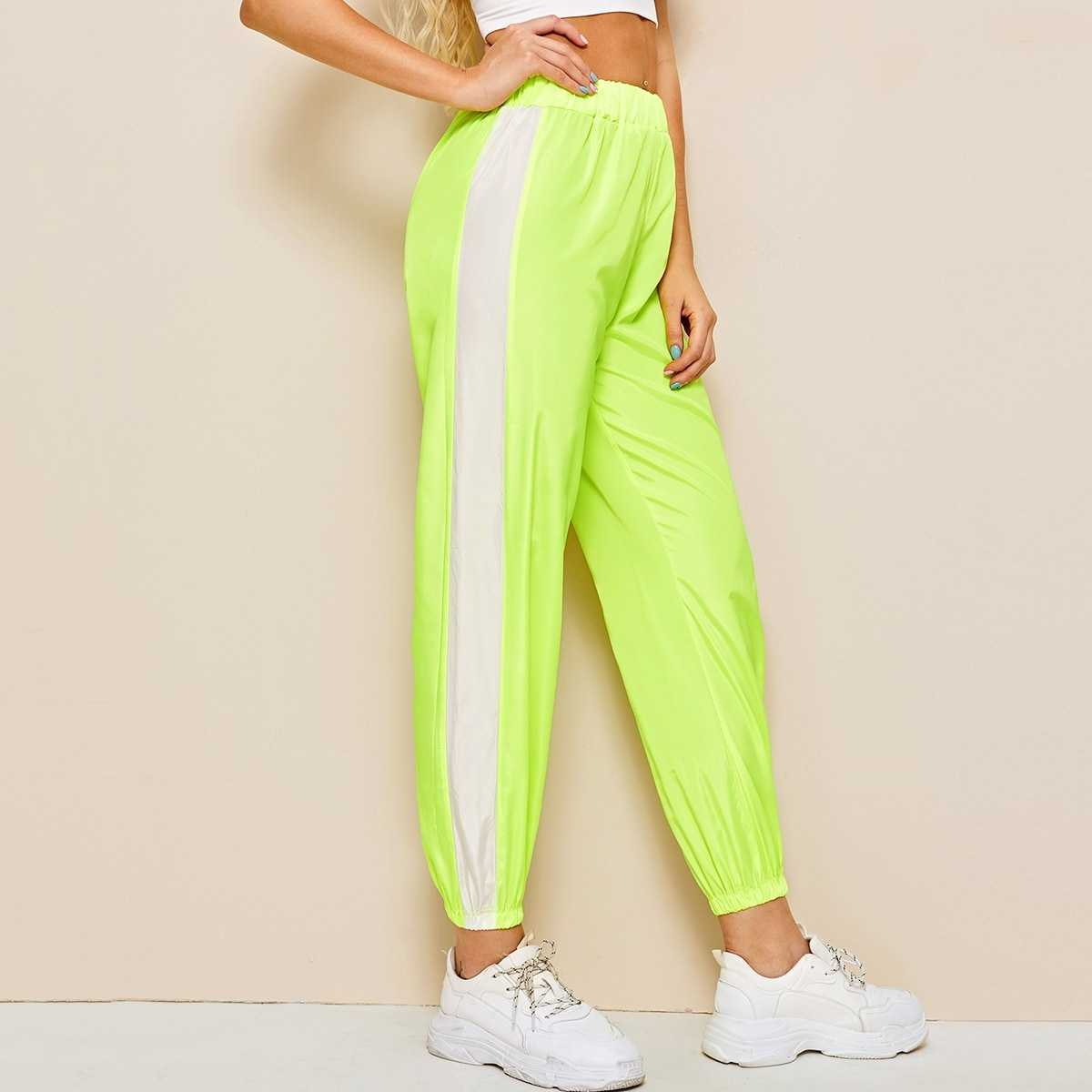 Elastic Waist Neon Lime Cut And Sew Pants in Green Bright by ROMWE on GOOFASH