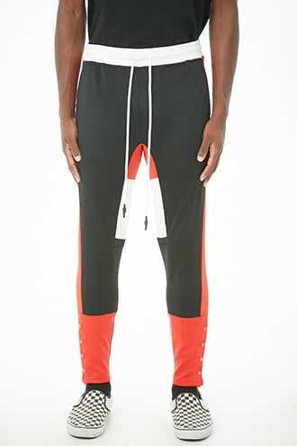 Elwood Colorblock Track Pants at Forever 21  Black/red - GOOFASH