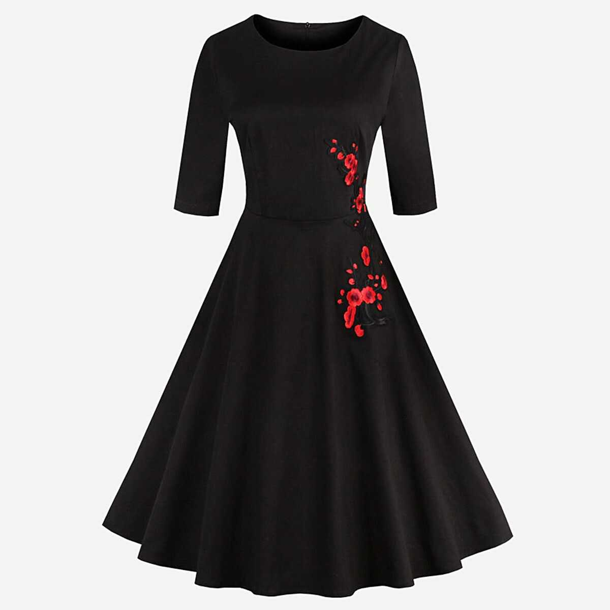 Embroidered Applique Flare Dress - Shein - GOOFASH