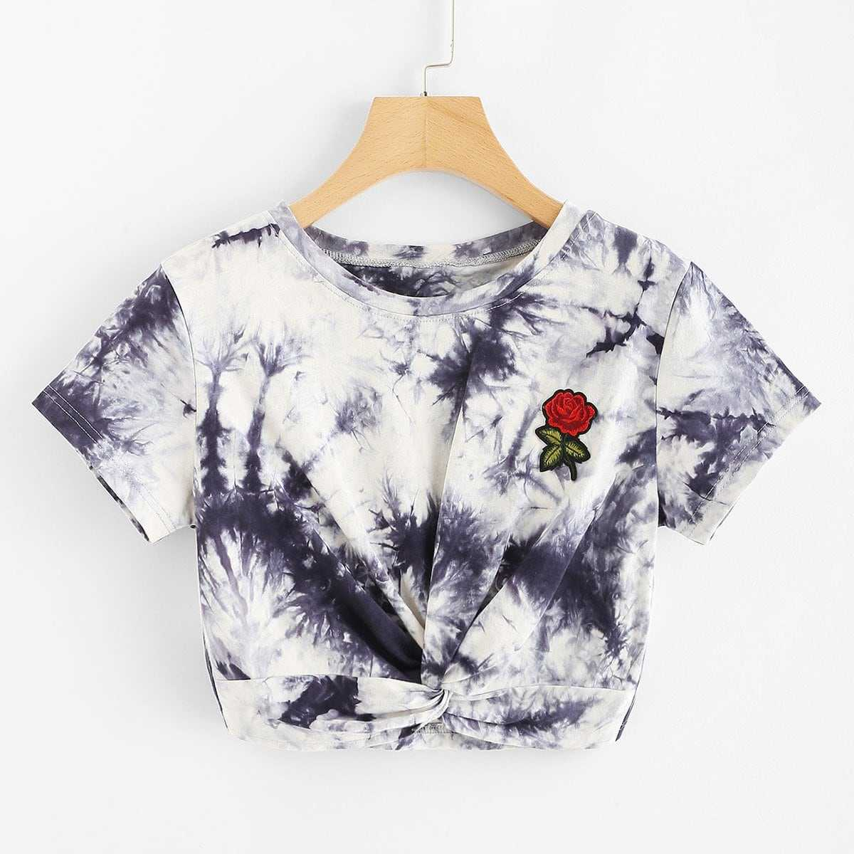 Embroidered Applique Twist Front Tie Dye Tee in Multicolor by ROMWE on GOOFASH