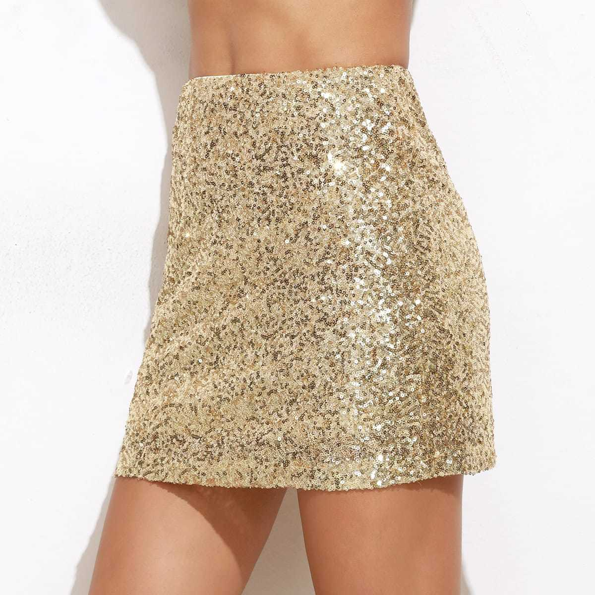Embroidered Sequin Mini Skirt in Gold by ROMWE on GOOFASH