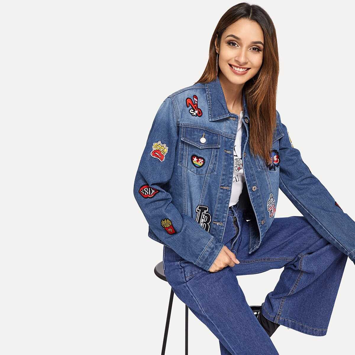Embroidery Patched Bleached Dye Jacket - Shein - GOOFASH