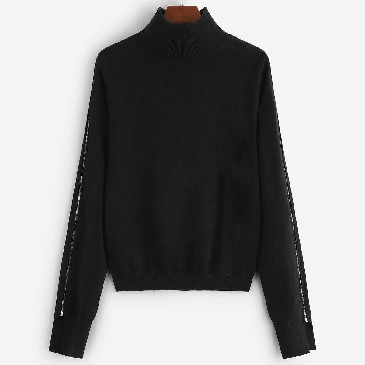 Exposed Zip Detail Soft Knit Pullover - Shein - GOOFASH