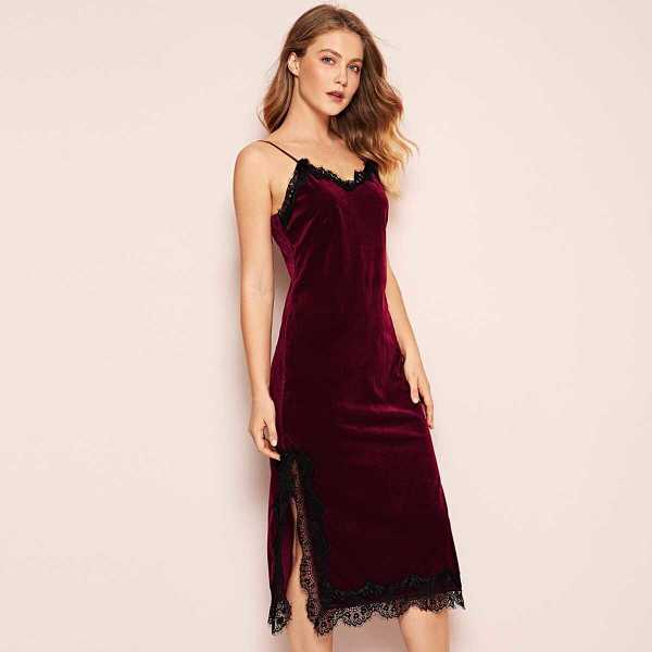 Eyelash Lace Velvet Cami Dress - Shein - GOOFASH
