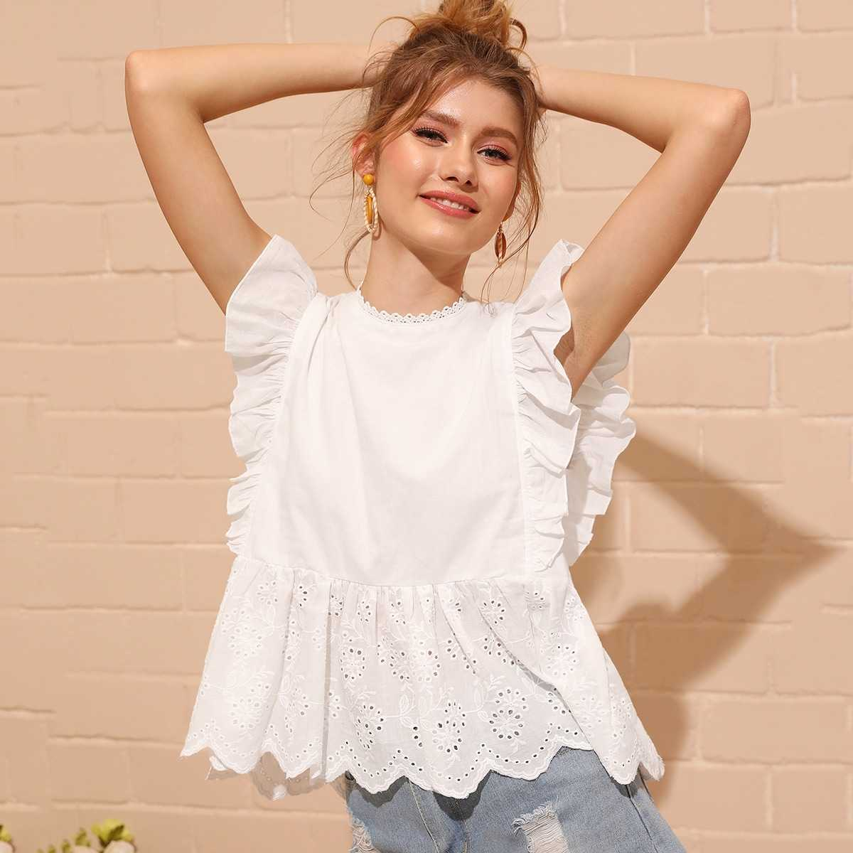 Eyelet Embroidered Ruffle Cuff Blouse in White by ROMWE on GOOFASH