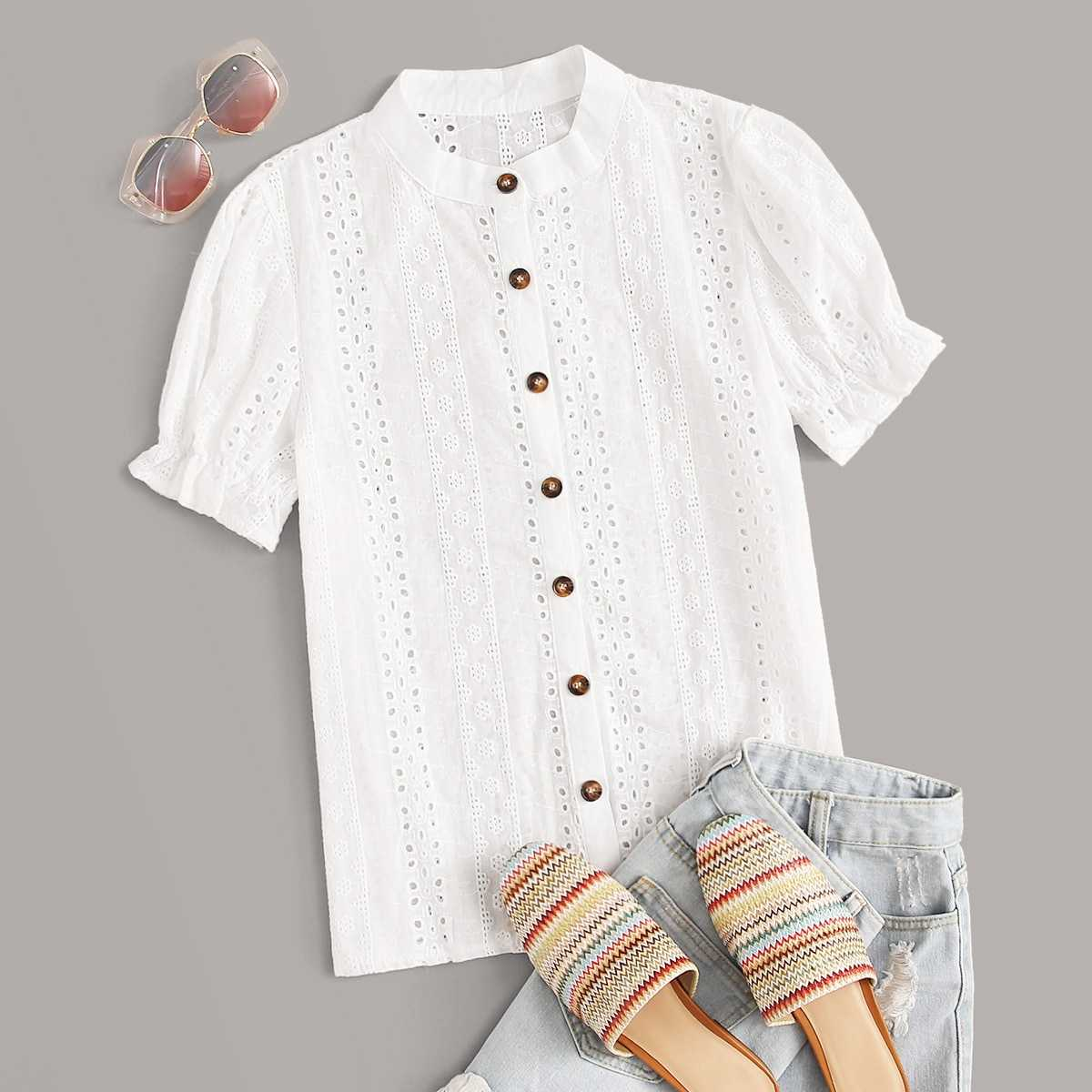 Eyelet Embroidery Button Front Blouse in White by ROMWE on GOOFASH