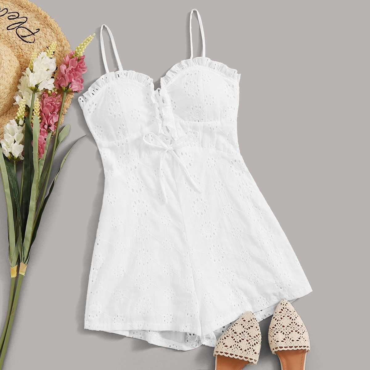 Eyelet Embroidery Lace-up Shirred Cami Playsuit in White by ROMWE on GOOFASH