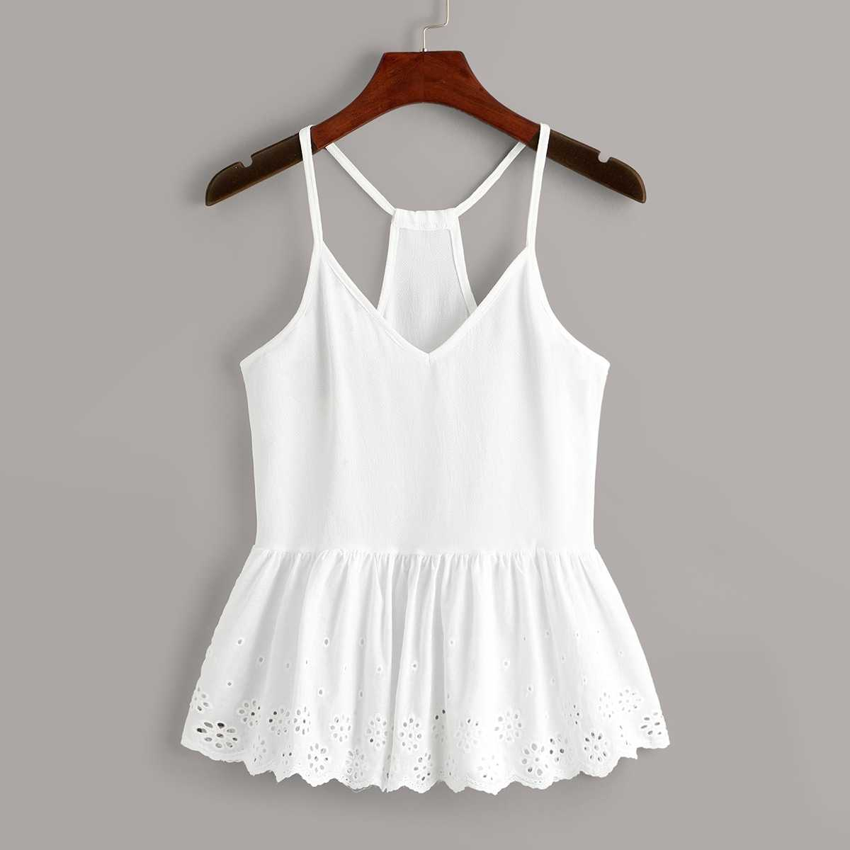 Eyelet Embroidery Peplum Cami Top in White by ROMWE on GOOFASH