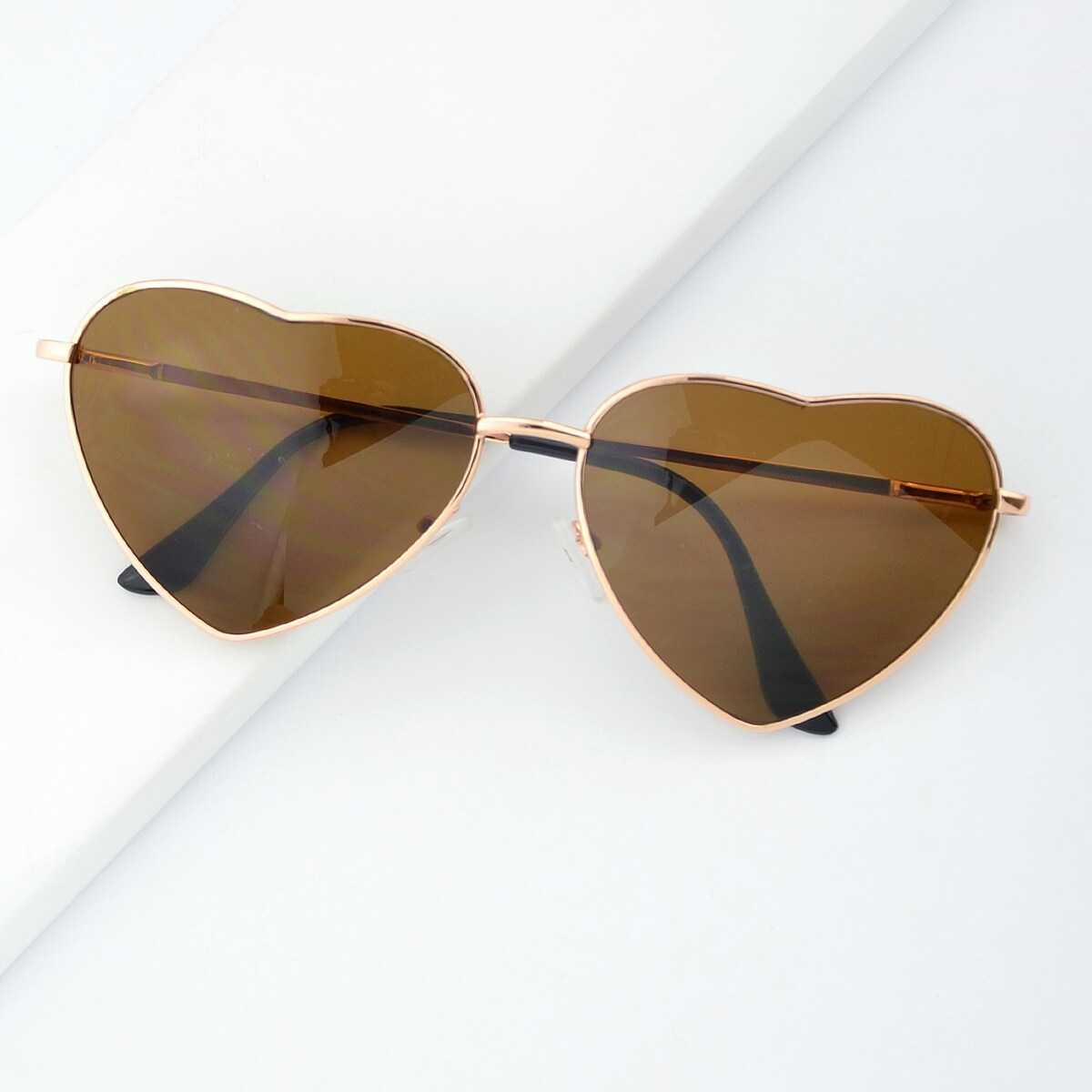 Fashion Gold Silver Alloy Heart Shape Acetate Frame Wrap Sunglasses in Gold by ROMWE on GOOFASH