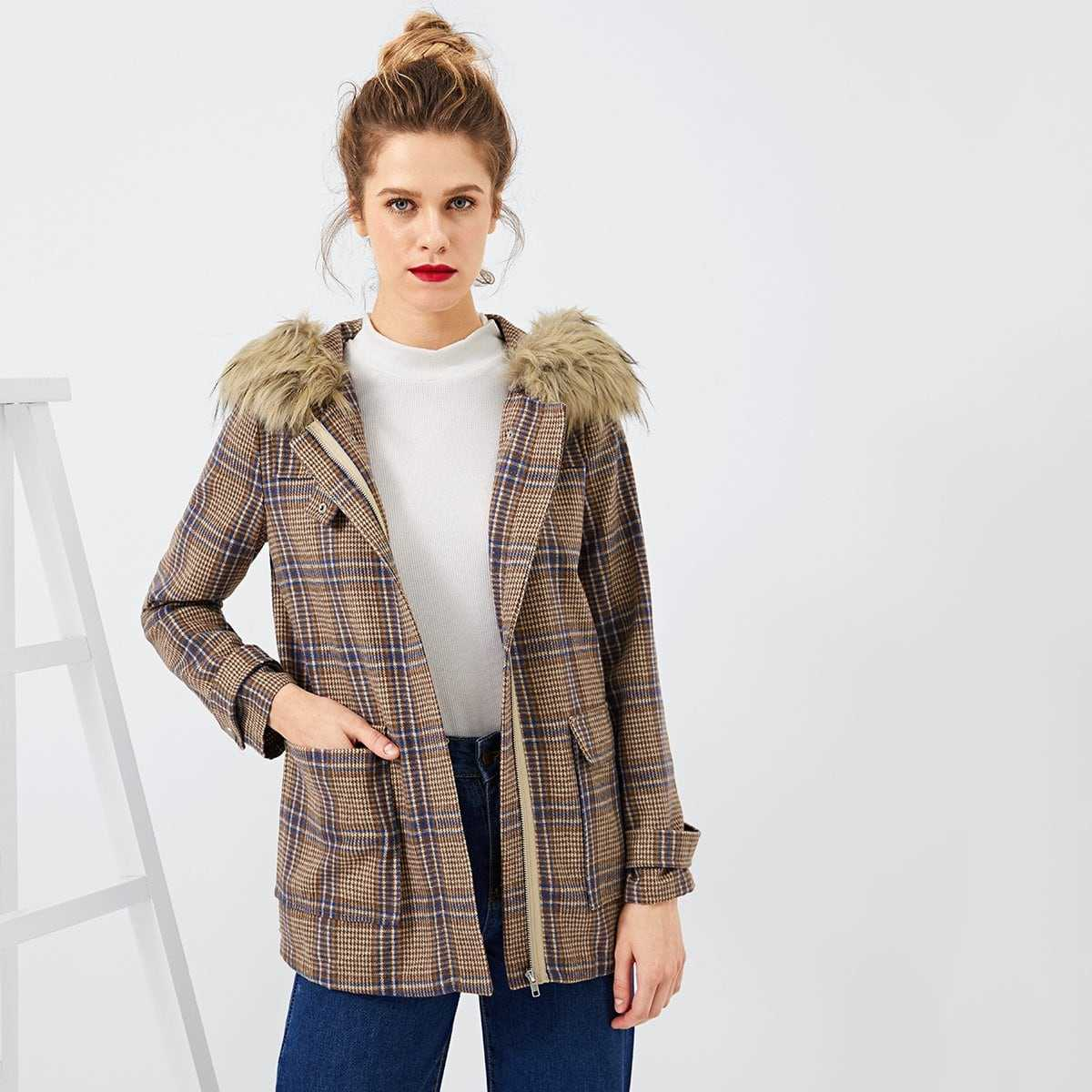 Faux Fur Contrast Plaid Coat in Brown by ROMWE on GOOFASH